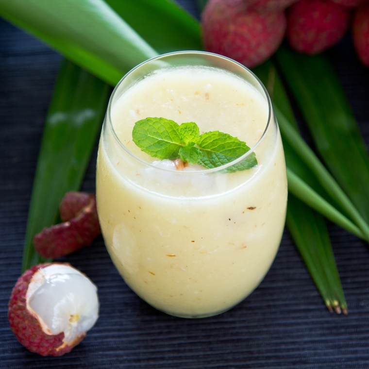 Lychee,Pineapple and coconut smoothie