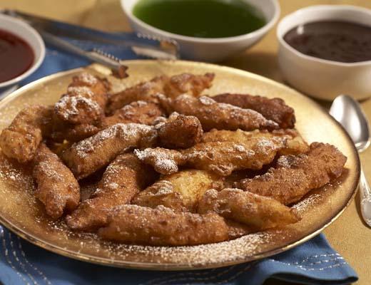 Hanukkah Fritters With Warm Chocolate Sauce Recipe — Dishmaps