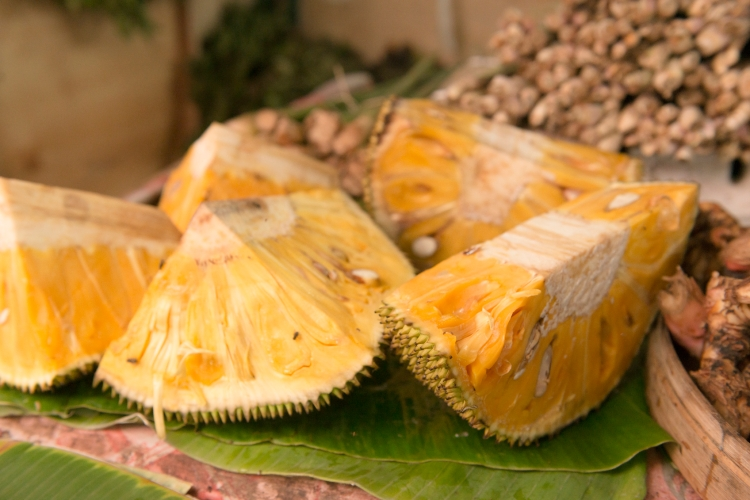 Tropical Jack Fruit For Sale in Tropical Rural Market Stall