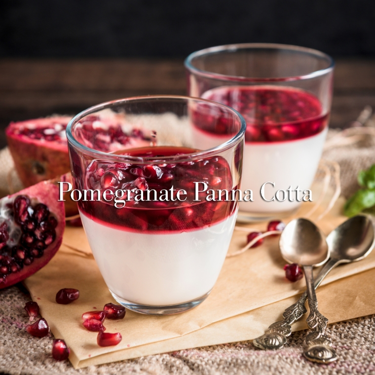 Panna Cotta with pomegranate sauce