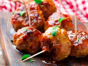 Chicken Meatballs with glaze